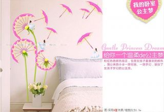 Pink Dandelion Flower Removable Wall Stickers Art Decor Decals Kids Home DIY B02