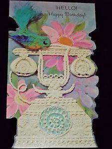 Vintage 1971 American Greeting Card Laurel Happy Birthday Card Telephone New