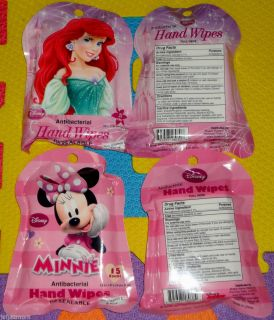 2 pks Disney Princess Ariel or Minnie Mouse Antibacterial Hand Wipes