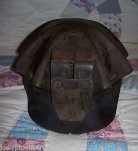 Vintage Coal Miners Mining Turtle Shell Cap Hard Hat Leather Brim Paper Label