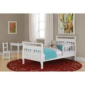 Kids Children White Big Girl Toddler Bed Rails Cute Nursery Storage Toy Sleep 2