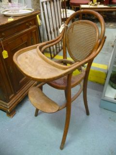 Vintage Bent Wood Antique Childs Baby High Chair Classic Thonet Window Prop