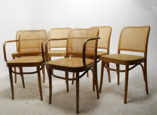 Set of 6 Vintage Bent Wood Cane Dining Cafe Chairs in The Style of Thonet