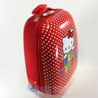 Sanrio Hello Kitty Polka Dot Red Kids Luggage Suitcase Travel Roller Bag