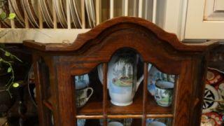 ... Petite Antique French Oak Wall Vitrine Display Glass Curio Cabinet  Shelf ...