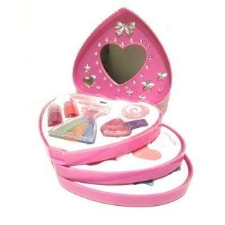 Kids Childrens Girls Make Up Set Heart Shaped 3 Tier Case Pink Toy New Boxed