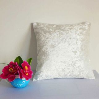 Off White Crushed Stretchy Velvet Style Cushion Cover Case Custom Size U60CC 000
