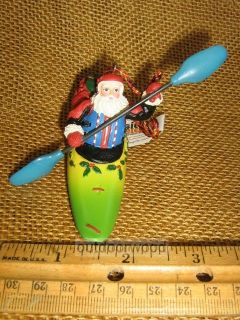 Outside Paddling Santa Whitewater Kayak w Sack of Gifts Tree Ornament