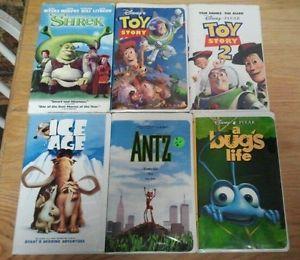 Lot of 6 VHS Disney Toy Story 1 2 Shrek Ice Age Antz Bugs Life