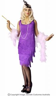 Roaring 20's Purple Flapper Plus Size Fancy Dress Womens Costume XXL or XXXL