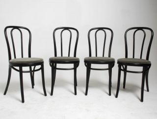 Set of 4 Fully Restored Vintage Thonet Bent Wood Cafe Chairs More Available