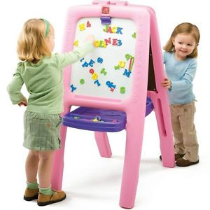 New Step2 Pink Easel for Two Childrens Kids Art Toy Arts and Crafts Tray Table