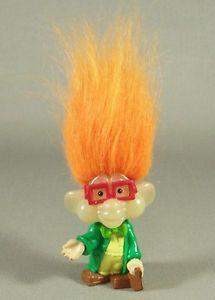 "IQ Troll Orange Hair Glasses Rubber 3"" Figurine Burger King Kids Club Toy"