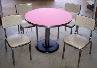 RARE 1950's Art Deco Chrome Formica Kitchen Table 4 Chairs