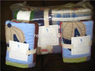 Pottery Barn Kids Jr Varsity Sports Full Queen Quilt 2 Standard Shams Set New