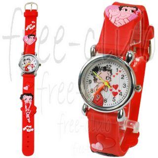 Betty Boop Hot Kisses 3D Red Strap Kid's Wrist Watch