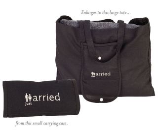2 Just Married Expandable Destination Wedding Tote Travel Beach Bags Bride Gift