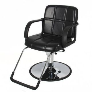 Hydraulic Barber Chair Styling Salon Work Station Chair Black Leather New