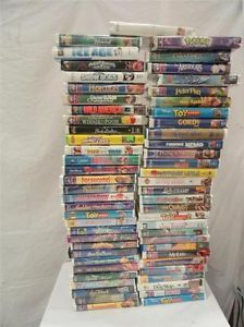 Lot of 60 Children's Kids VHS Tapes Cartoons Movies Disney Dumbo Toy Story
