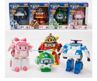 Robocar Poli Helly Amber Roy Transforming Robot Set Korean Animation Kid Toy