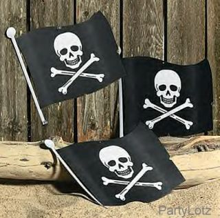 1 PK 12 Pirate Jolly Roger Skull Flags Party Decor