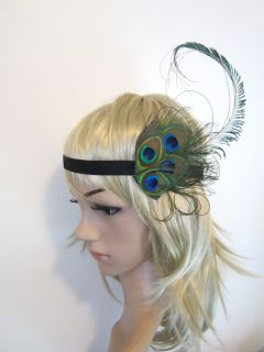 Vintage Peacock Feather Burlesque 1920s Flapper Style Headband