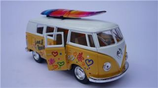 VW camper Van Hippy Bus Toy Model Yellow Diecast Pull Back Go Birthday Present