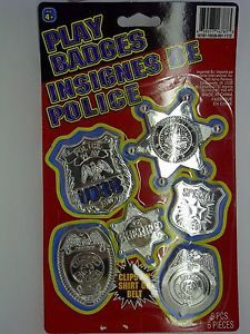 Kids Play Badges Police Sherrif Special Agent 6 Badges with Clip on Back