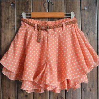 Retro Double Layer Chiffon Waist Short Pleated Mini Skirt Dress Polka Dot Pink