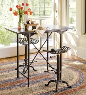 Adjustable Vintage Table Bar Stool Conversation Set Seating Tractor Iron Chair