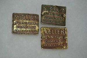 3 Vtg Antique Mueller Furniture Co Brass Tags Name Plate Grand Rapids Parlor