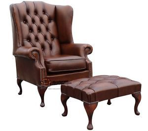 Chesterfield Prince's Mallory Large High Back Wing Chair Footstool Tan Leather