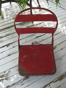 Vtg 1940s Swivel Folding Steel Boat Seat Chair Stadium Pontoon Stadium Fishing