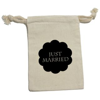 Just Married Flower Black Muslin Cotton Gift Party Favor Bags