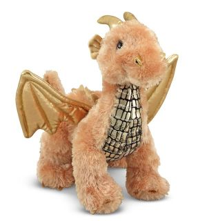 New Gold Luster Dragon with Wings Stuffed Animal Toy Plush Melissa Doug 7571