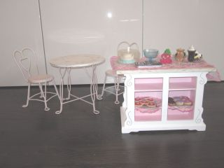 American Girl Doll Bakery Set Plus Table and Chairs Plus Cloths and Some Food