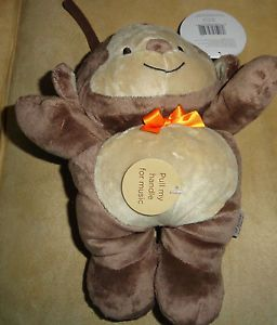 Baby Carter's Child of Mine Brown Monkey Musical Crib Pull Toy Orange Bow New