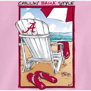 Alabama Crimson Tide Football T Shirts Chillin Bama Style on Beach Neon Pink