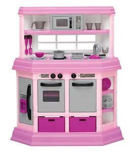 Plastic Toy Deluxe Pink Kitchen Microwave Dishwasher Girls Pretend Play New