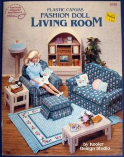 Plastic Canvas Fashion Doll Living Room Furniture Pattern Leaflet VTNS Barbie