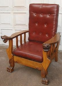 Antique Oak Morris Chair Recliner Pat' 1901 American Victorian