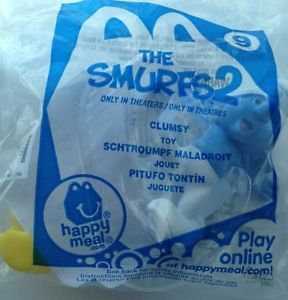 USA 2013 McDonalds The Smurfs 2 Clumsy 9 Happy Meal Toys Fast Shipping