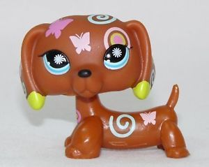 Littlest Pet Shop Fancy Brown Dachshund Dog 1010 Butterfly Tattoo Green Eyes