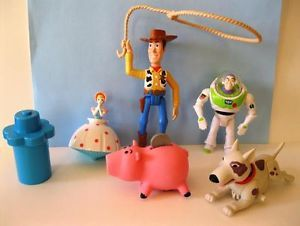 Toy Story Buzz Woody Hamm Scud Bo Lot of 5 Burger King Kids Meal Premiums 90'S
