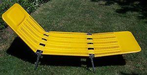 ... Vintage Kurz Retro Yellow Tubing Folding Lawn Chair Lounger Lounge  Patio Chair ...