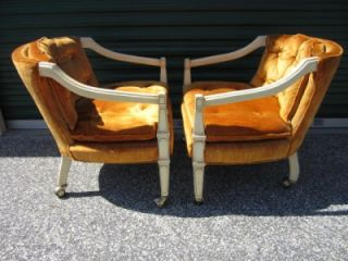 Pair of Regency Modern Orange Crushed Velvet Rolling Club Chairs Mid Century