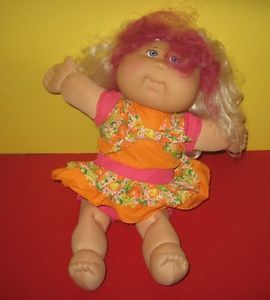 "2005 Play Along Toys Cabbage Patch Kids 16"" Doll in Peach Outfit Blue Eyes"