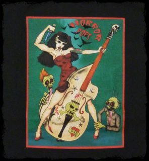 Horror Pops Patricia Day Bass and Zombies Drawing T Shirt Official Fast