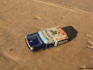 Made in Japan 1950's Fresh Milk Delivery Truck Car Vintage Tin Toy Car