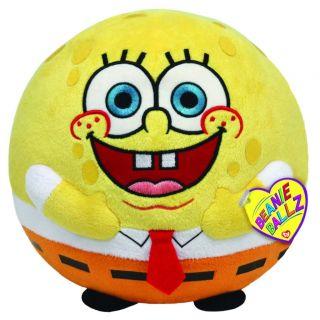 New Ty Beanie Ballz Sponge Bob Spongebob Plush Stuffed Animal Toy Med 8''